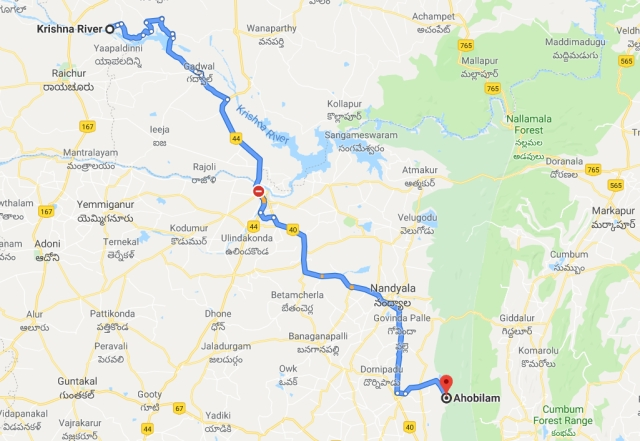 A map displaying the distance from the Krishna River to Ahobilam. (Credit - Google Maps)