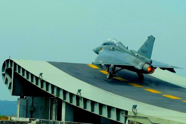 Naval Variant Of LCA Tejas Lands On Indian Navy's Aircraft Carrier INS Vikramaditya For The First Time
