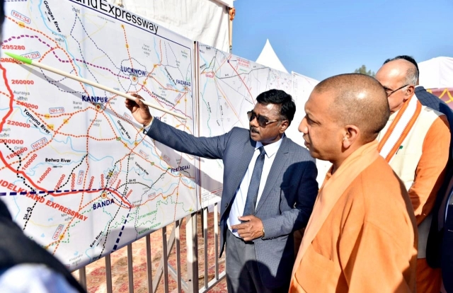 Uttar Pradesh Chief Minister Yogi Adityanath during a presentation on the Bundelkhand Expressway in Chitrakoot.
