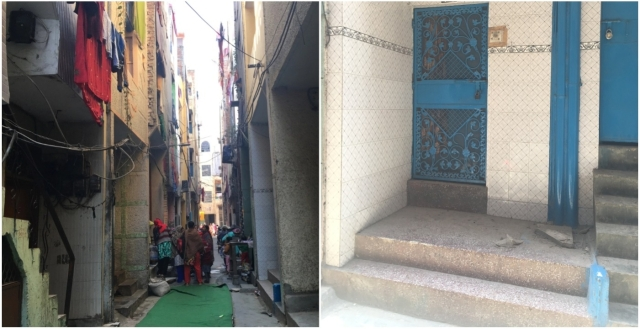 (Left) The Khyala C block colony where triple murder happened. (Right) Mohammad Azad's locked house. Pictures clicked in January and May 2019 respectively