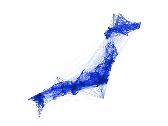 A sample co-location map for Japan made available under the Facebook 'data for good' programme.