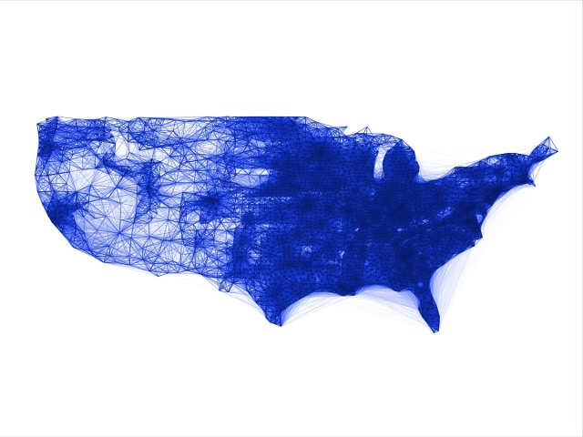 A sample co-location map for the United States made available under the Facebook 'data for good' programme.
