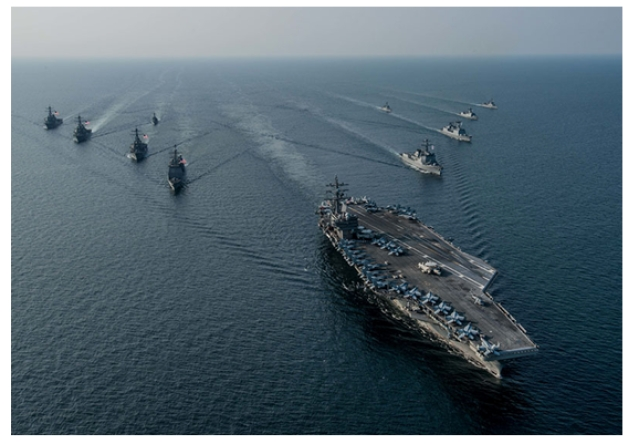 US Navy Carrier Battle Group with USS Ronald Reagon in the lead.
