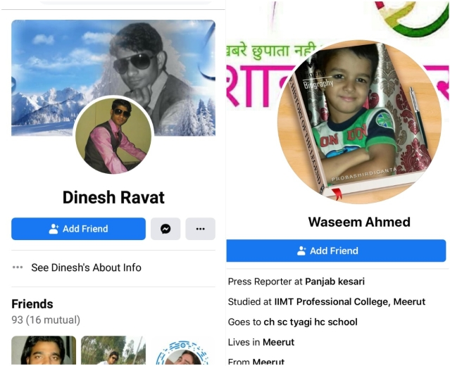 Two Facebook profiles maintained by the accused.