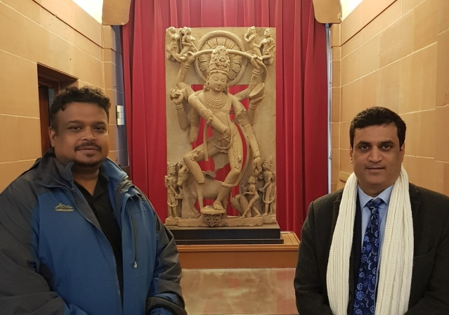 Vijay Kumar of India Pride Project and Rahul Nagare in front of the Natesa in London in feb 2020