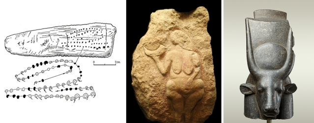 Paleolithic Lunar Calendar (30,000 BCE), Goddess holding crescent, Laussel, France (25,000 BP), Sacred Cow with celestial disc Egypt (about 3000 BCE)