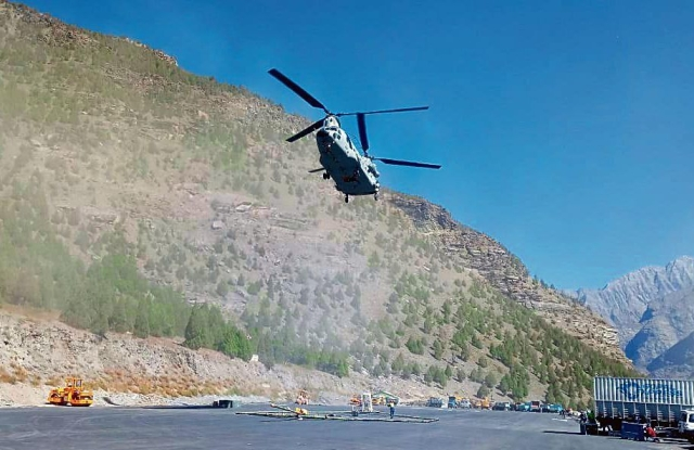 Watch: IAF's Chinook  Lifts A Large Antenna To Conduct Electromagnetic Survey For Strategically Important, 13.5 Km Long Shinku La Tunnel
