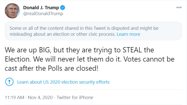 Twitter Restricts Us President Donald Trump S Tweet Alleging Opposition S Attempt To Steal The Election