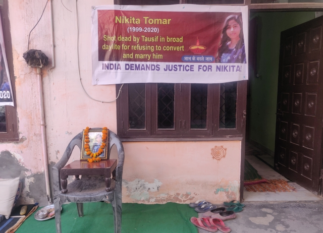 'Shot Dead By Tausif For Refusing To Convert And Marry Him', Nikita Tomar's Family Hangs Banner Outside House