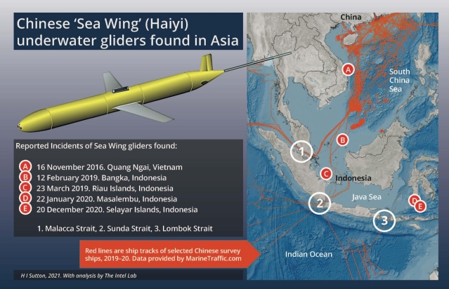 Location of Chinese underwater drones when discovered in Indonesian waters. (HI Sutton/Twitter)