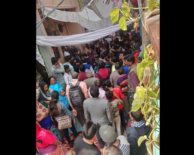 Outside Rinku Sharma's house on 12 February