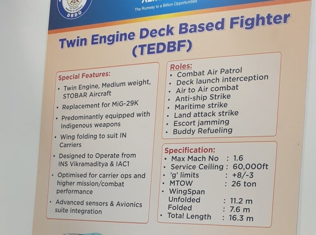 Specifications of TEDBF displayed at Aero India 2021. (@ReviewVayu/Twitter)