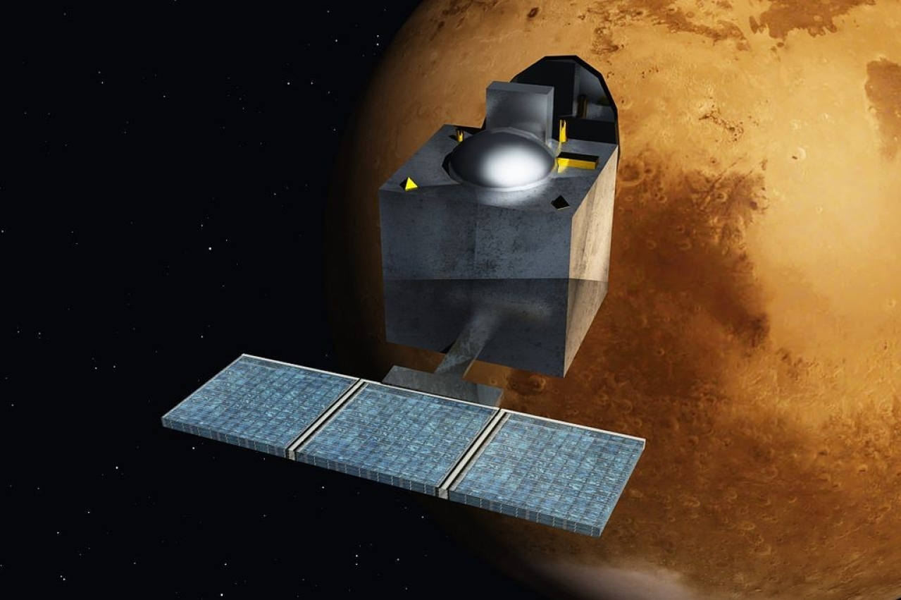 An artist's impression of ISRO's Mangalyaan (Wikimedia Commons/Nesnad)