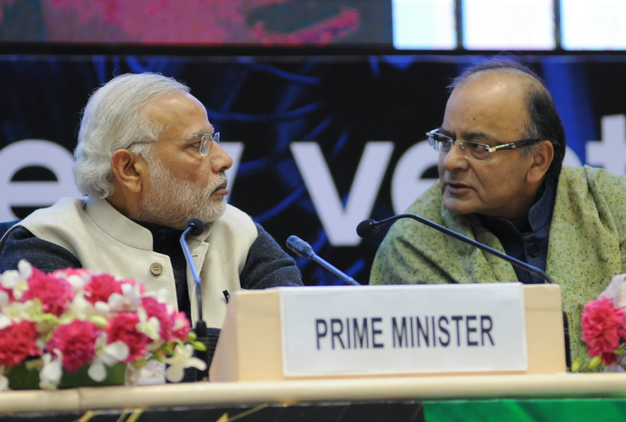 Indian Prime Minister Narendra Modi  and Finance Minister Arun Jaitley. Photo credit: STRDEL/AFP/Getty Images