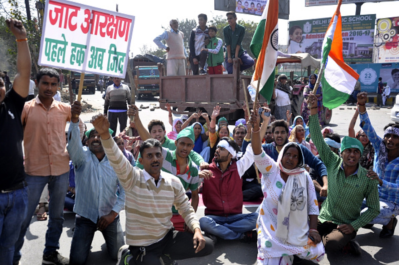 Jats protesting to press for their demands for reservations/Getty Images