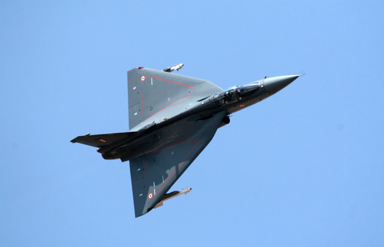LCA Tejas at a demo.