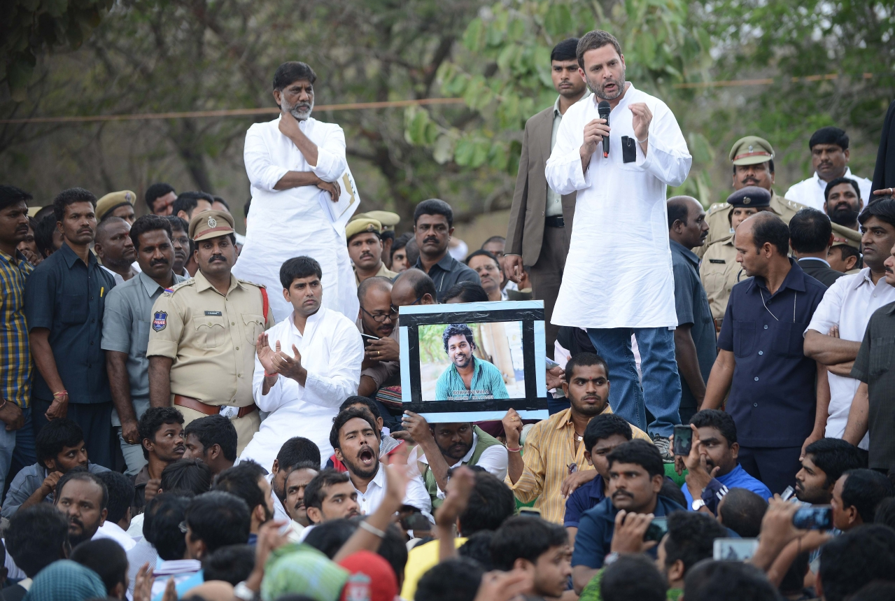 Rahul Gandhi in Hyderabad.