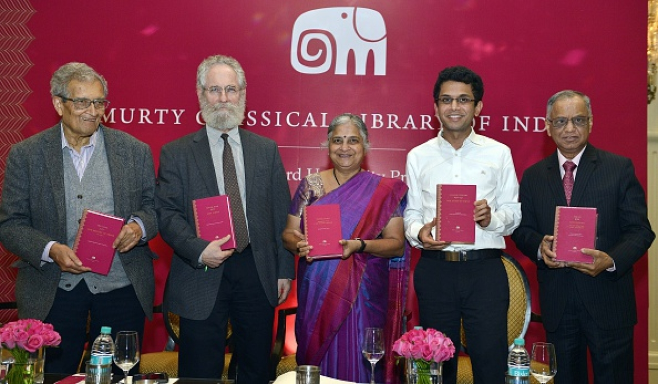 Sheldon Pollock: second from left; Murthy junior: second from right/Getty Images