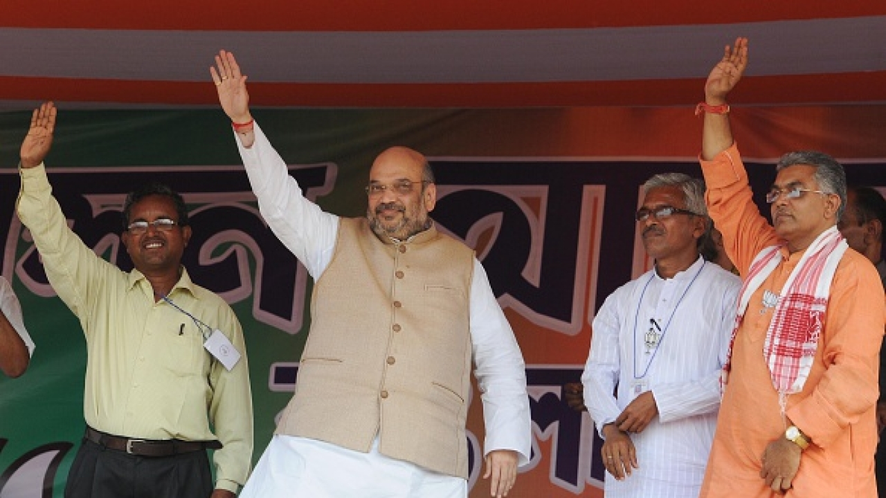 Amit Shah Chants Jai Shri Ram In Bengal's Joynagar; Challenges Mamata To Arrest Him If She Has The Guts