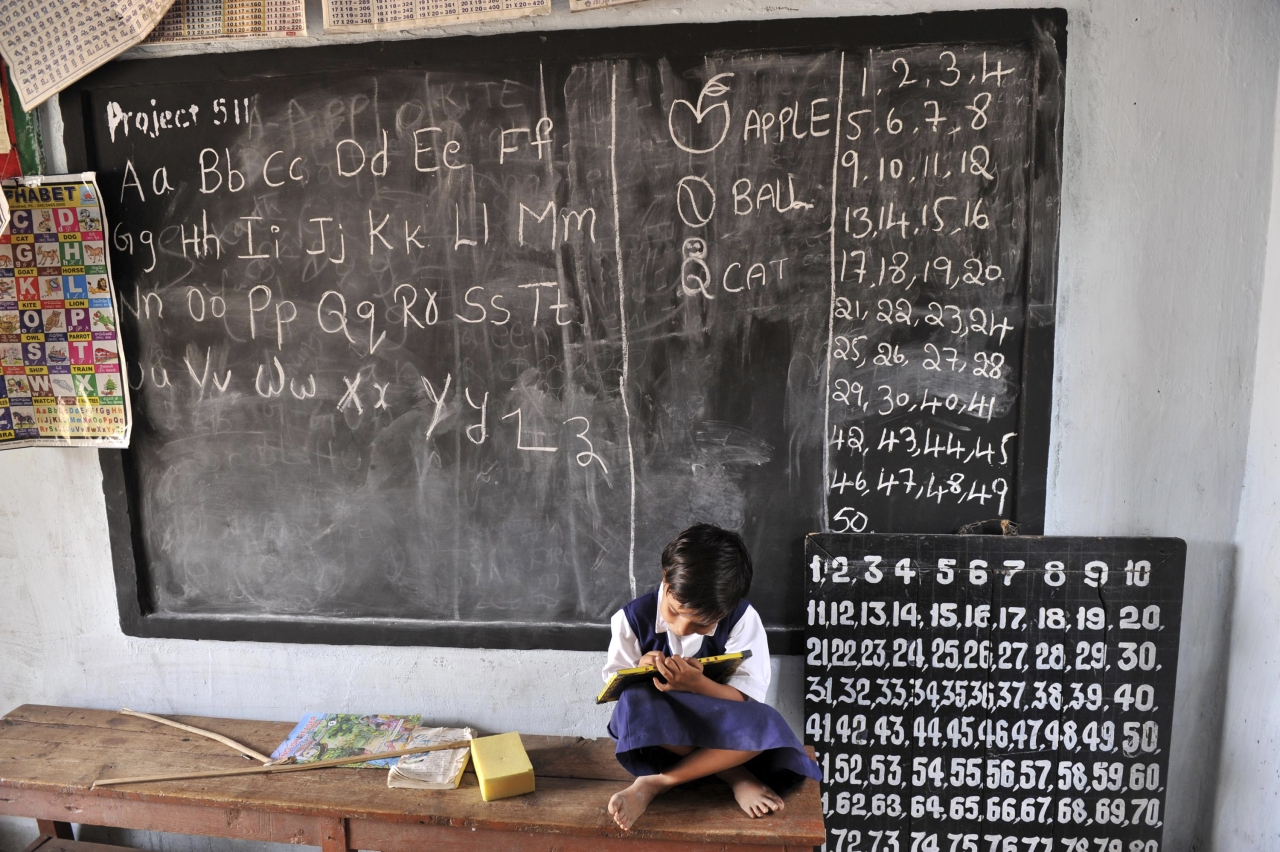 A  girl in a government school. (NOAH SEELAM/AFP/Getty Images)