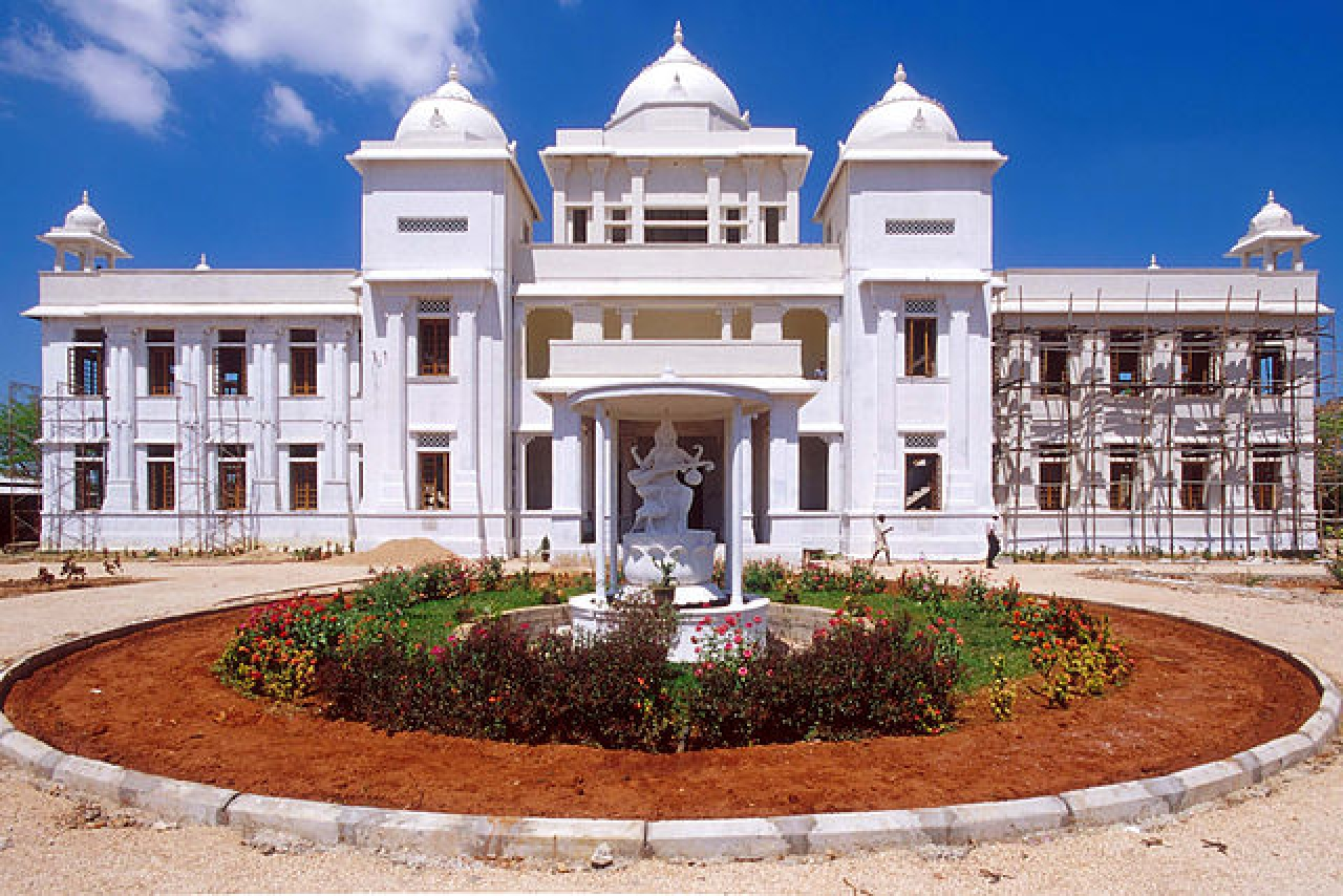 Jaffna Public Library being rebuilt, with partly burned right wing.