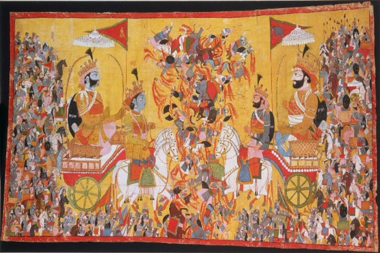 A painting that depicts the battle of Kurukshetra  (Wikimedia Commons)