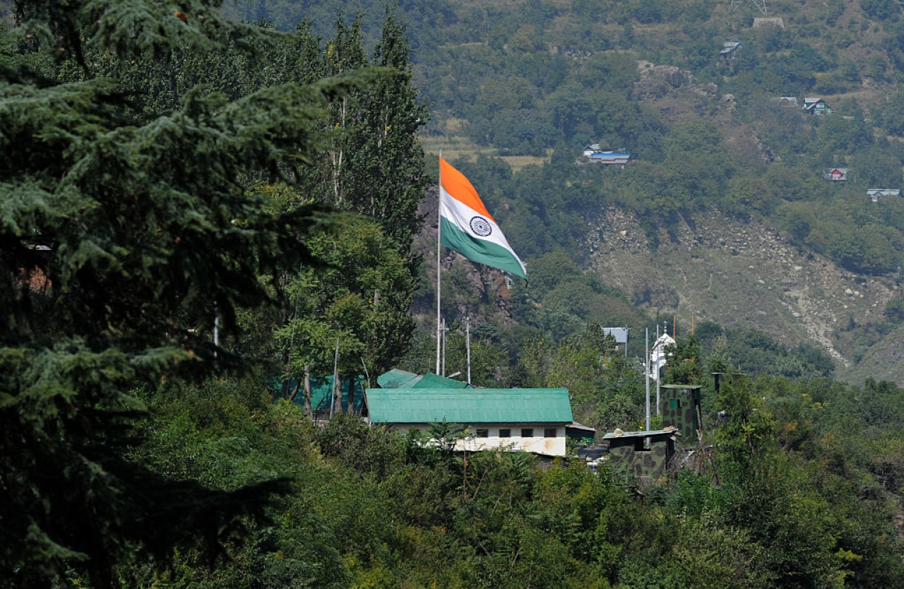 The national flag at Uri HQ of the Indian Army (TAUSEEF MUSTAFA/AFP/Getty Images)