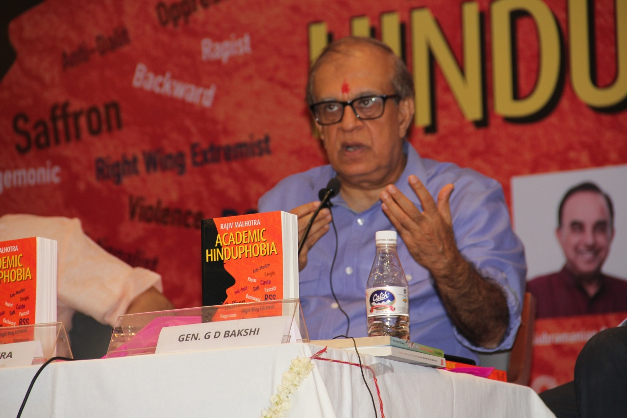 Rajiv Malhotra speaking at the book launch event. Photo credit: Manish Pant