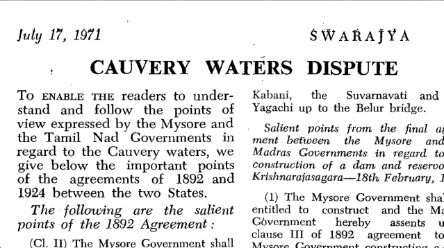 From The Archives: Important Points Of Agreement On Cauvery Dispute Between Tamil Nadu-Mysore