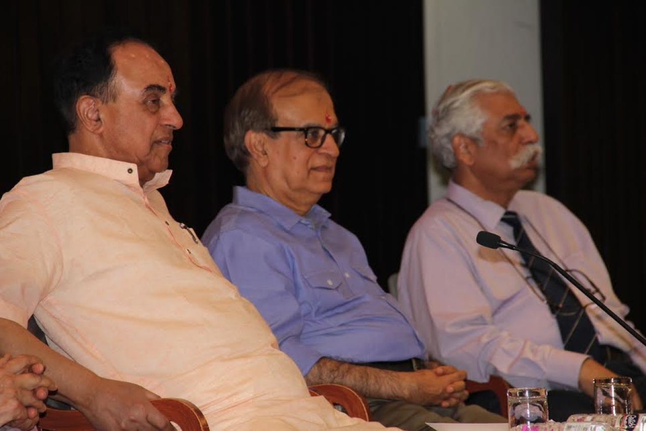 Rajiv Malhotra, centre, at the launch of his new book. Photo credit: Manish Pant