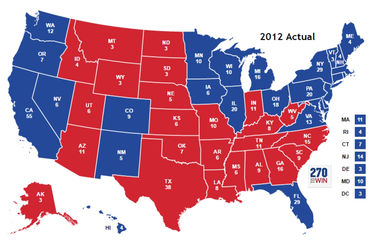 Barack Obama won the blue states. Mitt Romney took the red ones. (Photo credit: 270towin.com)