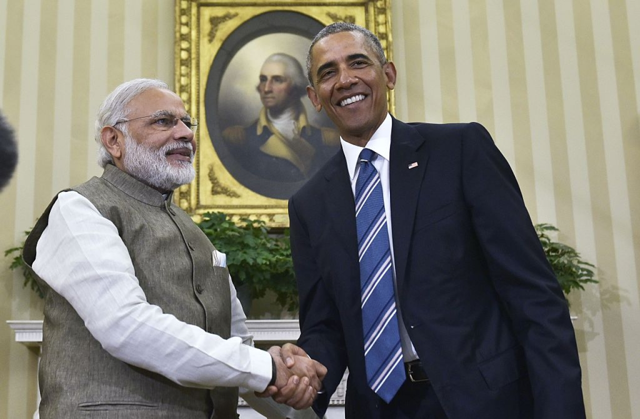 US President Barack Obama shakes hands with Prime Minister Narendra Modi during a meeting in the Oval Office of the White House (MANDEL NGAN/AFP/Getty Images)