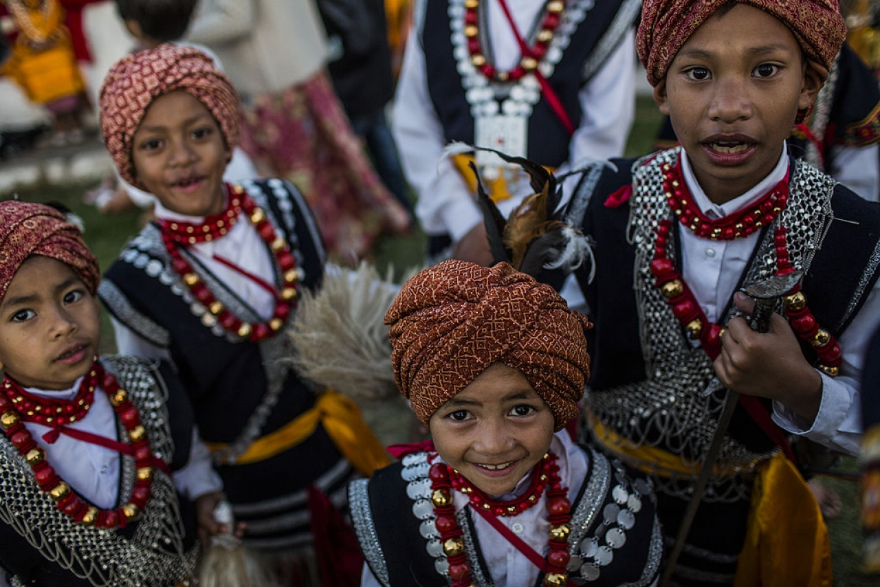 Tribal Khasi boys dressed in traditional costume (Daniel Berehulak /Getty Images)