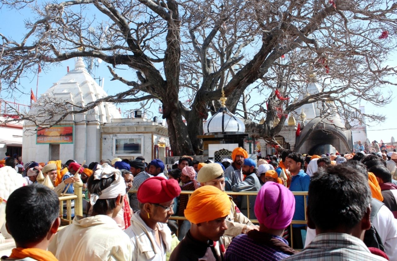 Sikhs offer pranams at Naina Devi Temple during Hola Mohalla Festival in 2014