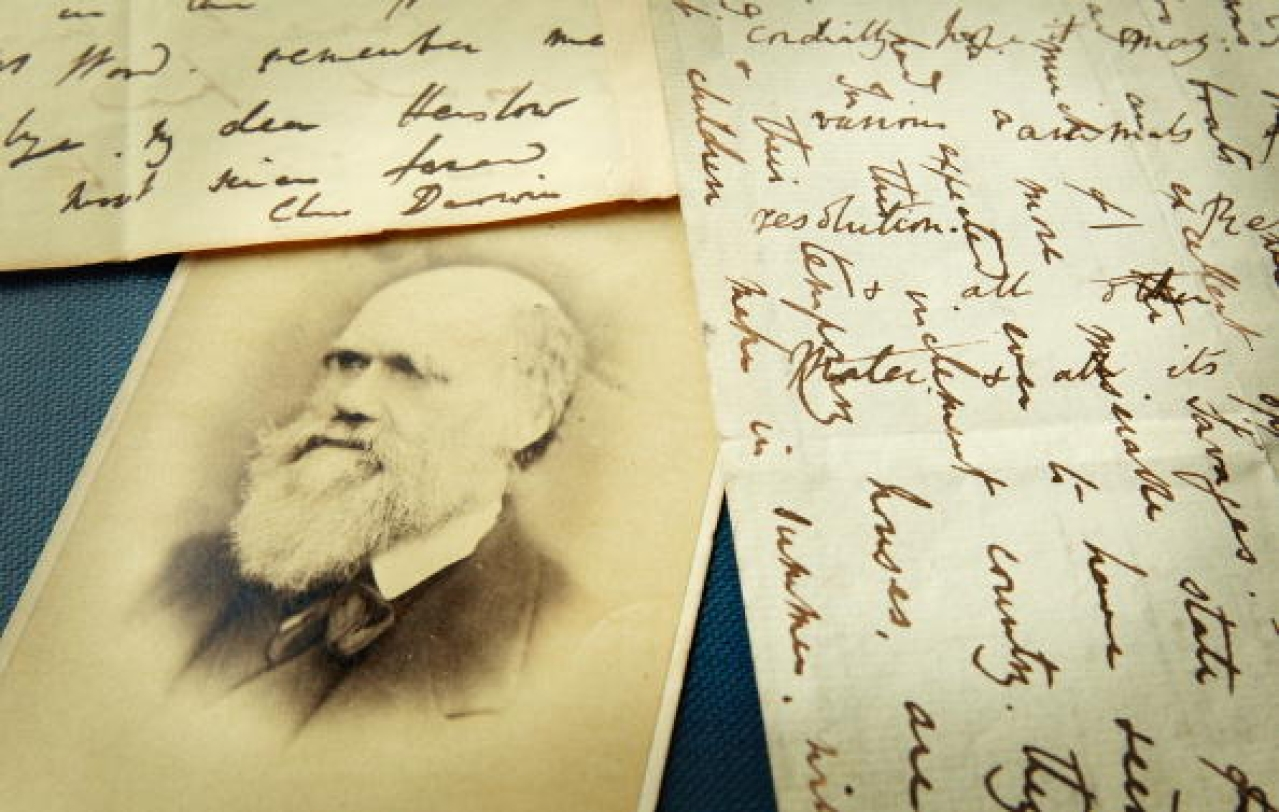 Original letters from Charles Darwin are displayed at the Herbaruim library at the Royal Botanic Gardens, Kew in London. Photo credit: Peter Macdiarmid/GettyImages