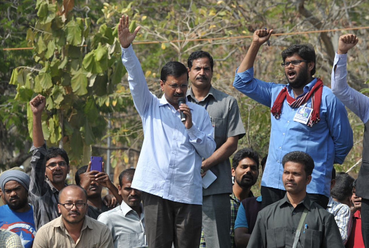 Delhi Chief Minister Arvind Kejriwal speaks during a protest rally. (NOAH SEELAM/AFP/GettyImages)