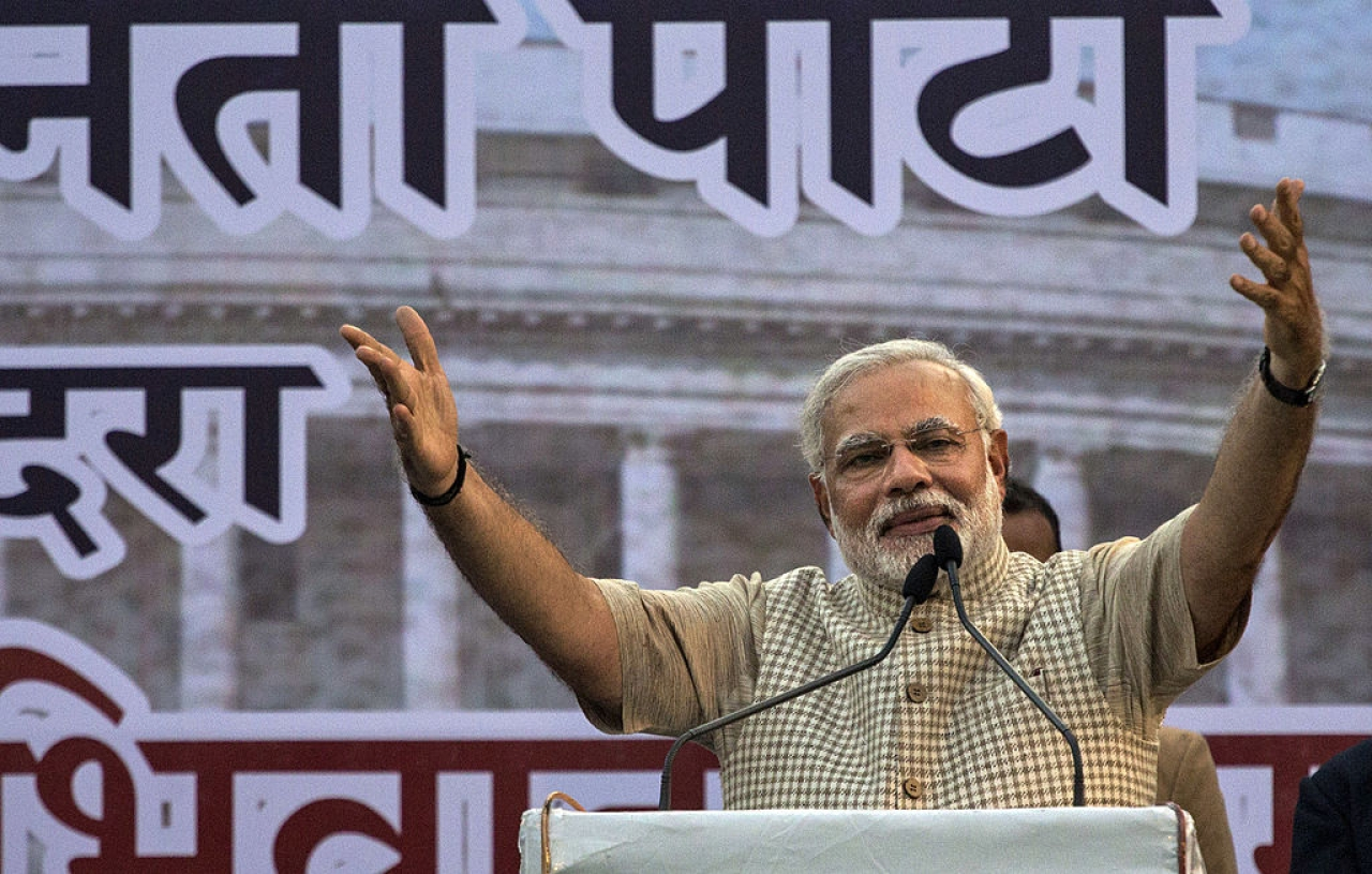 Prime Minister Narendra Modi speaks at an election rally. (GettyImages)