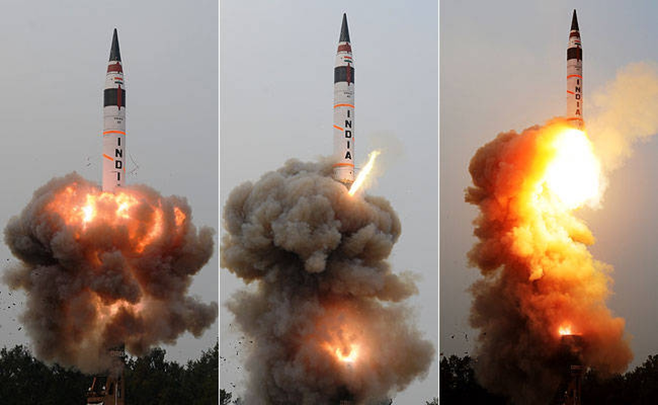 Agni-V, an   intercontinental ballistic missile developed by DRDO.