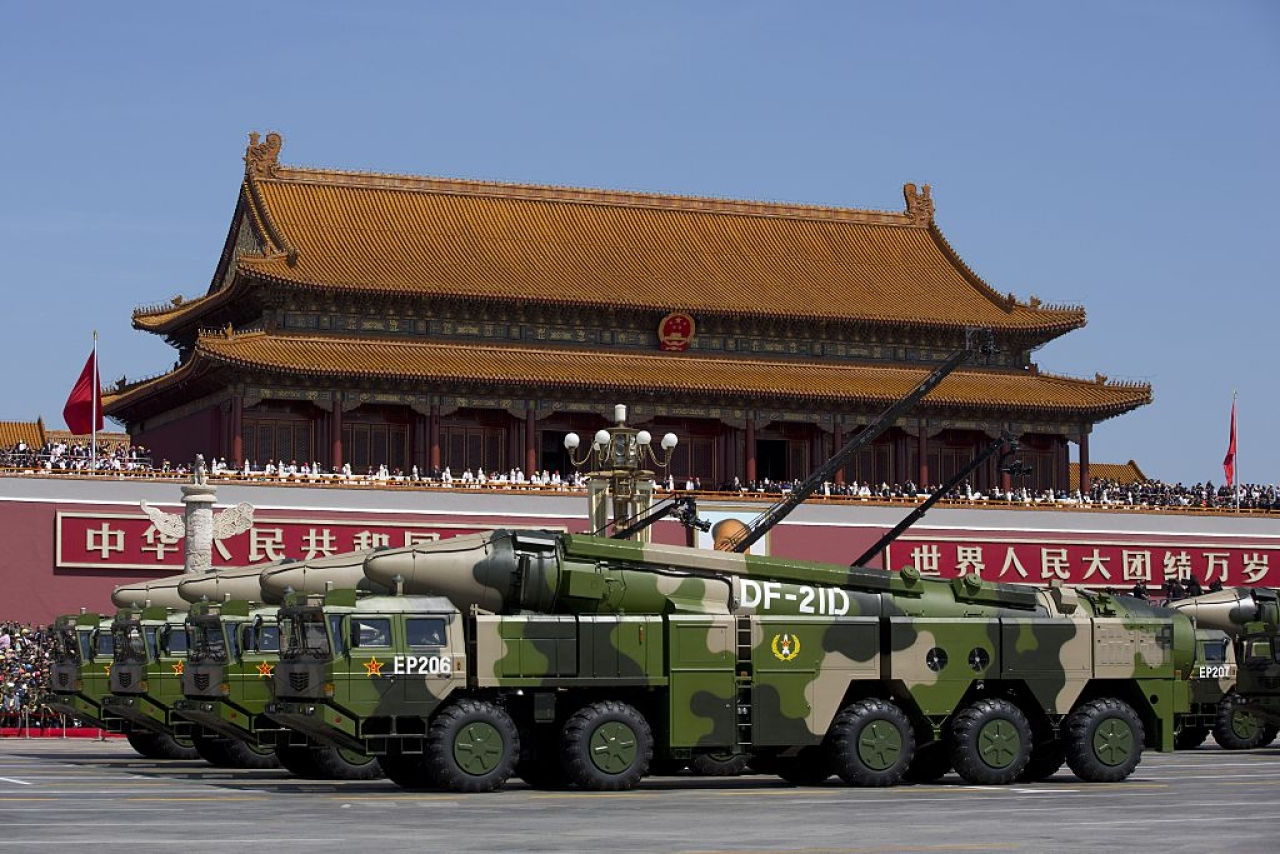 Chinese military vehicles carrying DF-21 anti-ship ballistic missiles during a military parade in Beijing. (Andy Wong/Pool/GettyImages)