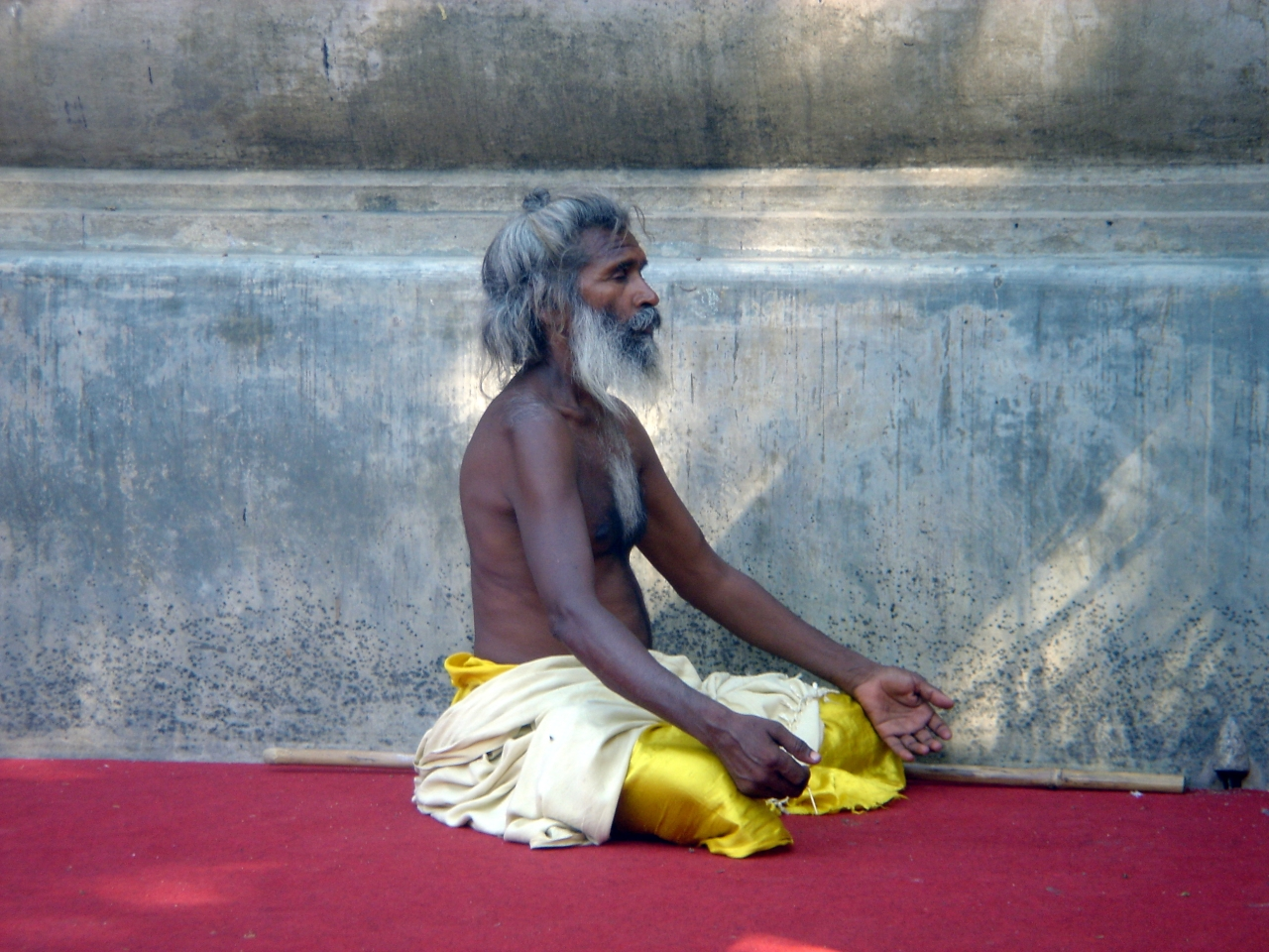 A holy man in meditation near Mahabodhi Temple, Bodh Gaya, India (Wise Droid/Wikimedia Commons)
