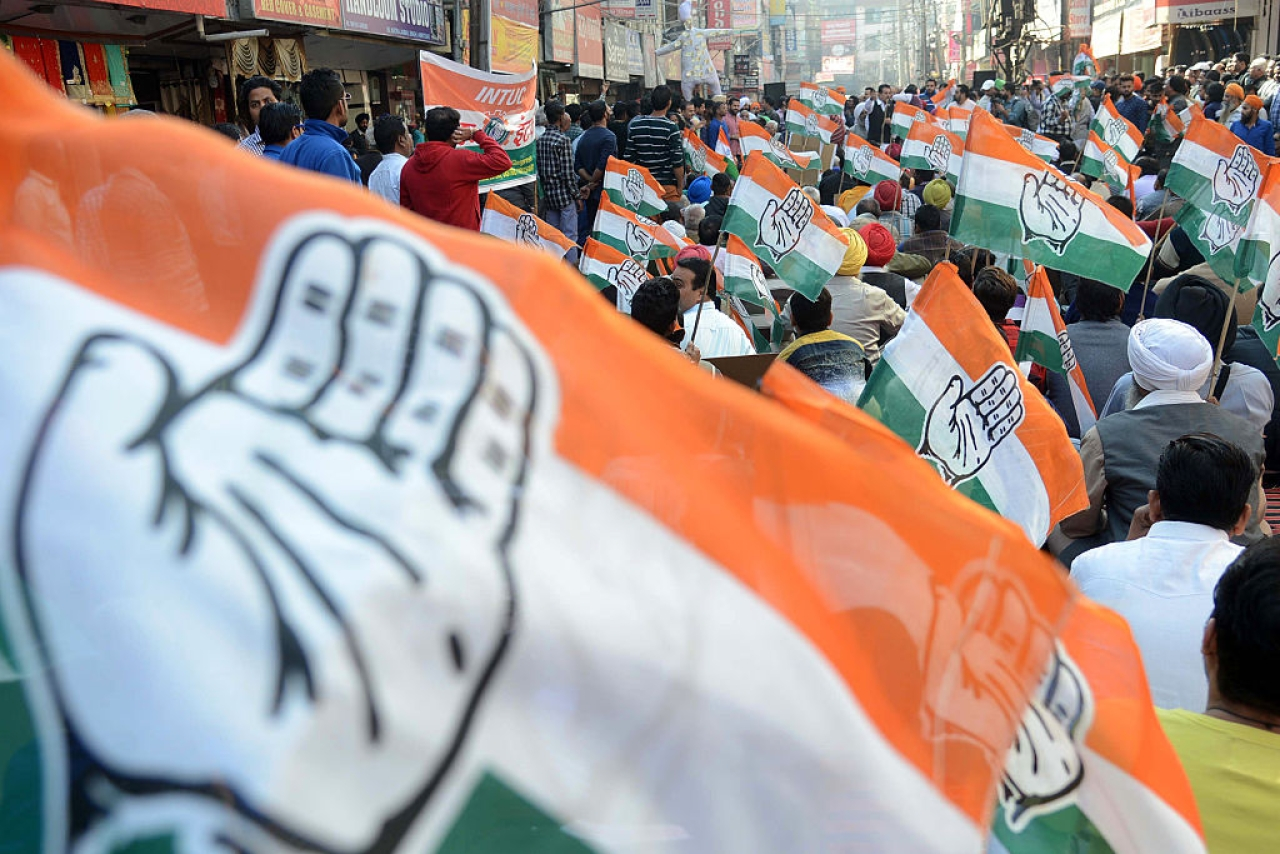 Congress party flags. (Representative Image)  (NARINDER NANU/AFP/Getty Images)