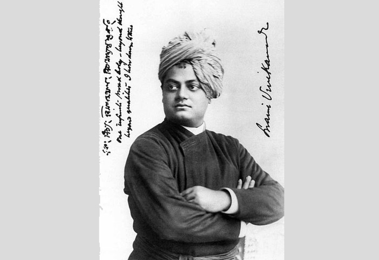 "Swami Vivekananda, September 1893, Chicago. On the left, Vivekananda wrote, ""one infinite pure and holy – beyond thought beyond qualities I bow down to thee."""