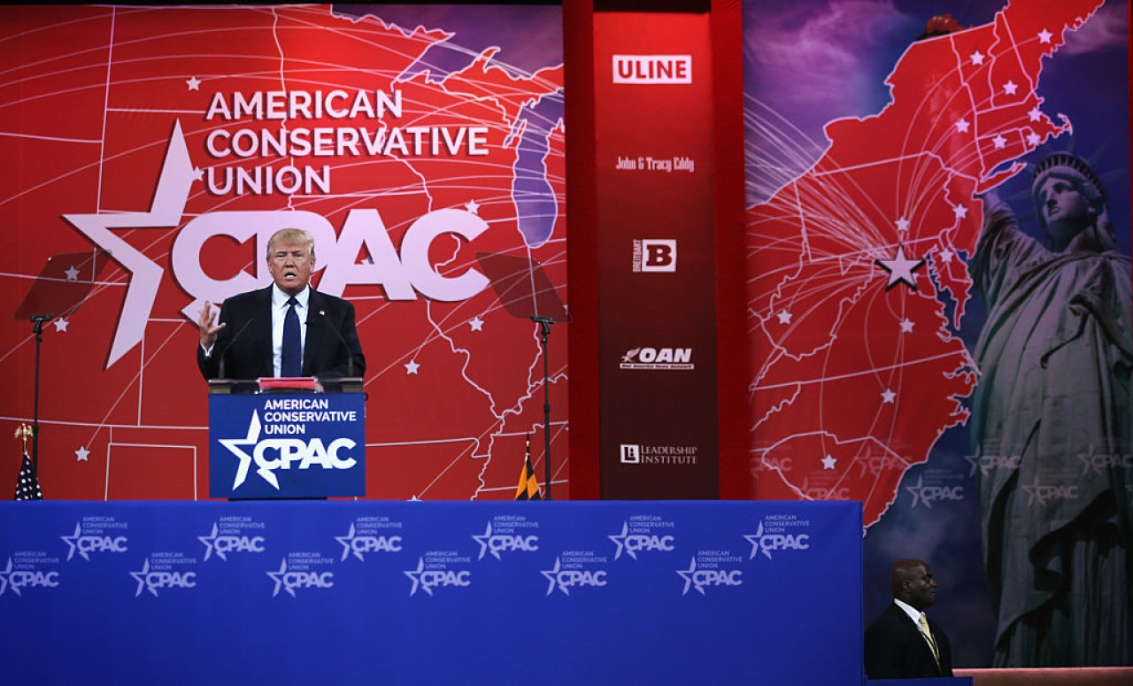 United States President Donald Trump addressing the 42nd annual Conservative Political Action Conference (CPAC) in Maryland, 2015. (Alex Wong/Getty Images)