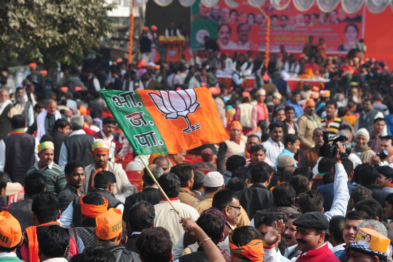 BJP supporters at a rally in Uttar Pradesh (Photo credit: SANJAY KANOJIA/AFP/Getty Images)