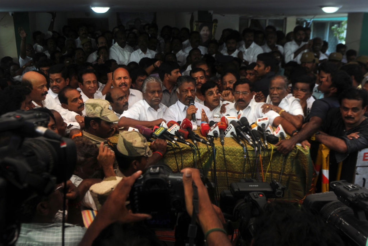 Former Tamil Nadu Chief Minister O Panneerselvam speaks to the media. (ARUN SANKAR/AFP/Getty Images)