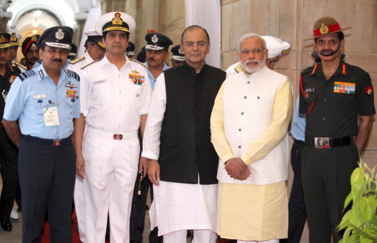 Prime Minister Narendra Modi and Union Minister for Finance, Corporate Affairs and Defence Arun Jaitley and the three Service Chiefs, Air Chief Marshal Arup Raha, Admiral R.K. Dhowan and General Dalbir Singh, during the Combined Commanders' Conference(Photo Courtesy:Wiki Commons)