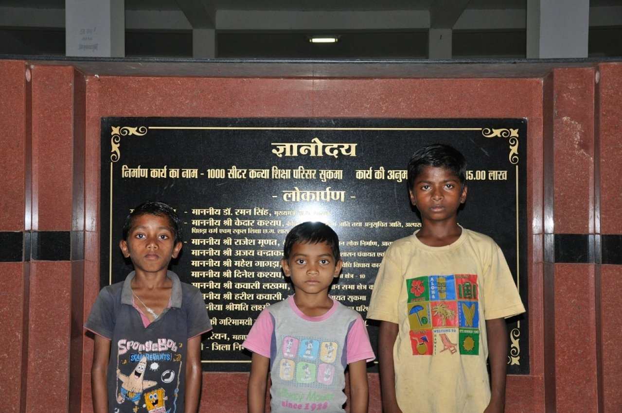 (from left to right): Sariam Vicky, Rahul Podiami and Ramesh Sori at Gyanodaya Vidyalaya in Sukma