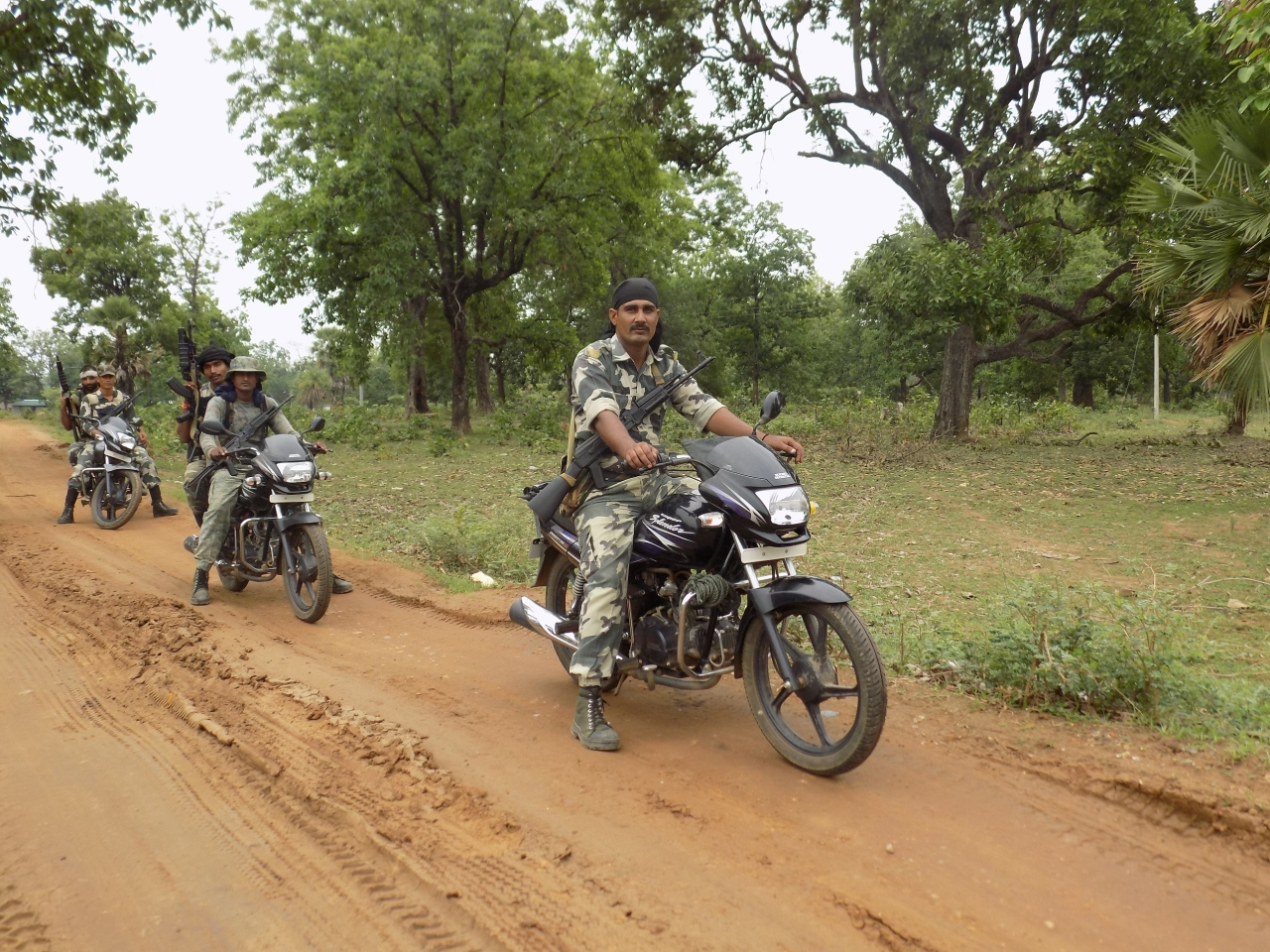 CRPF personnel on patrolling duty at Sukma's Dornapal area where Monday afternoon's ambush took place. ()