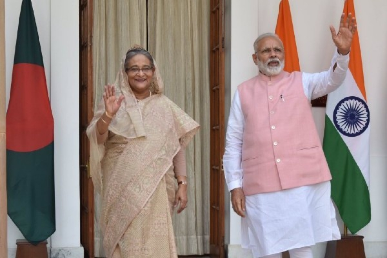Prime Minister Narendra Modi with Bangladesh Prime Minister Sheikh Hasina in New Delhi. The two leaders are holding talks on strengthening India-Bangladesh relations. (PMO India)