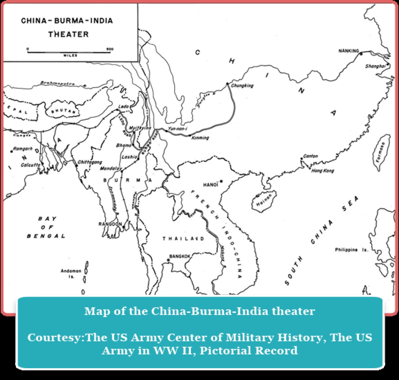 "The ""China-Burma-India theatre"" refers to the United States military's operations in China, parts of south-east Asia, Burma and eastern India."